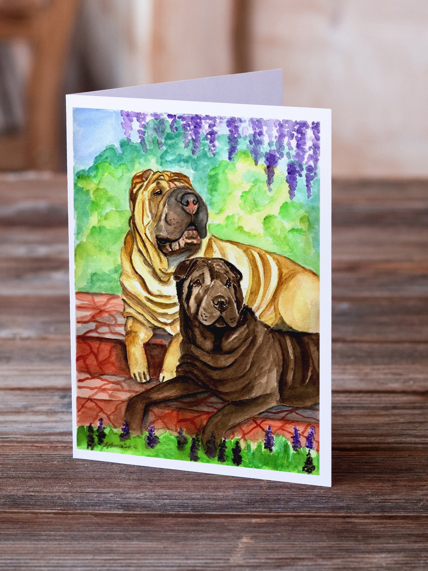 Buy this Shar Pei Fawn and Chocolate Greeting Cards and Envelopes Pack of 8