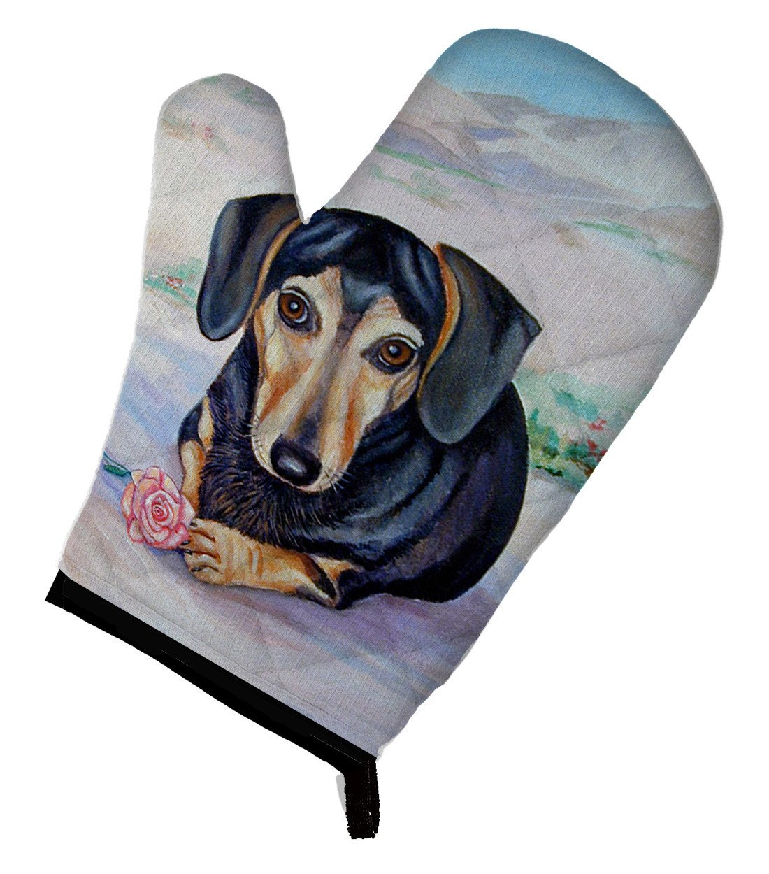 Black and Cream Dachshund Oven Mitt 7076OVMT - the-store.com