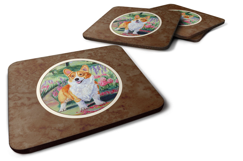 Buy this Pembroke Corgi Springtime Foam Coaster Set of 4 7077FC