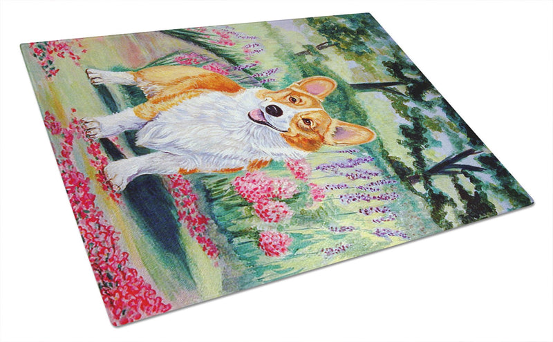 Corgi Springtime in the Garden Glass Cutting Board Large - the-store.com