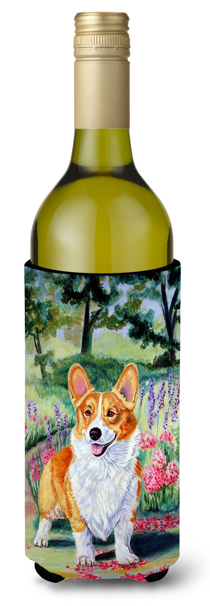 Buy this Pembroke Corgi Springtime Wine Bottle Beverage Insulator Beverage Insulator Hugger