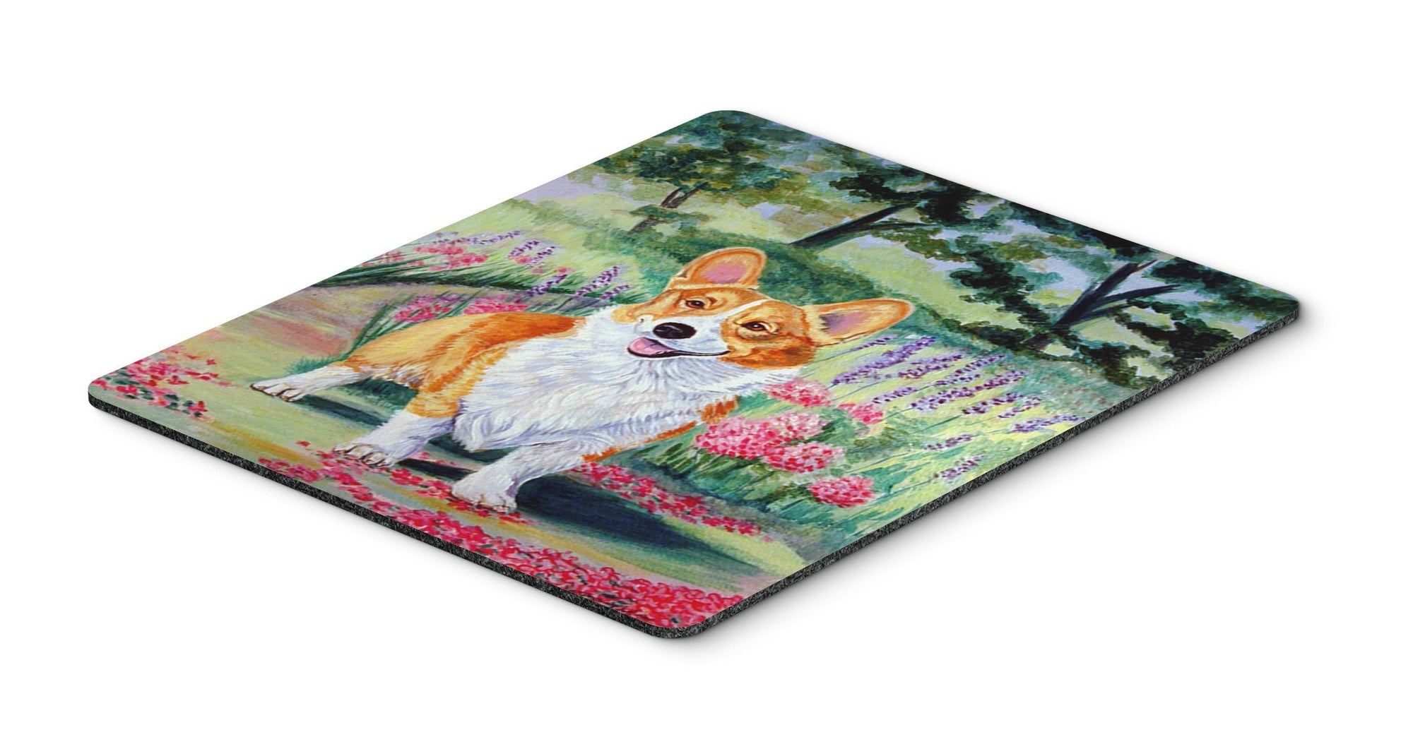 Corgi Springtime in the Garden Mouse Pad, Hot Pad or Trivet - the-store.com