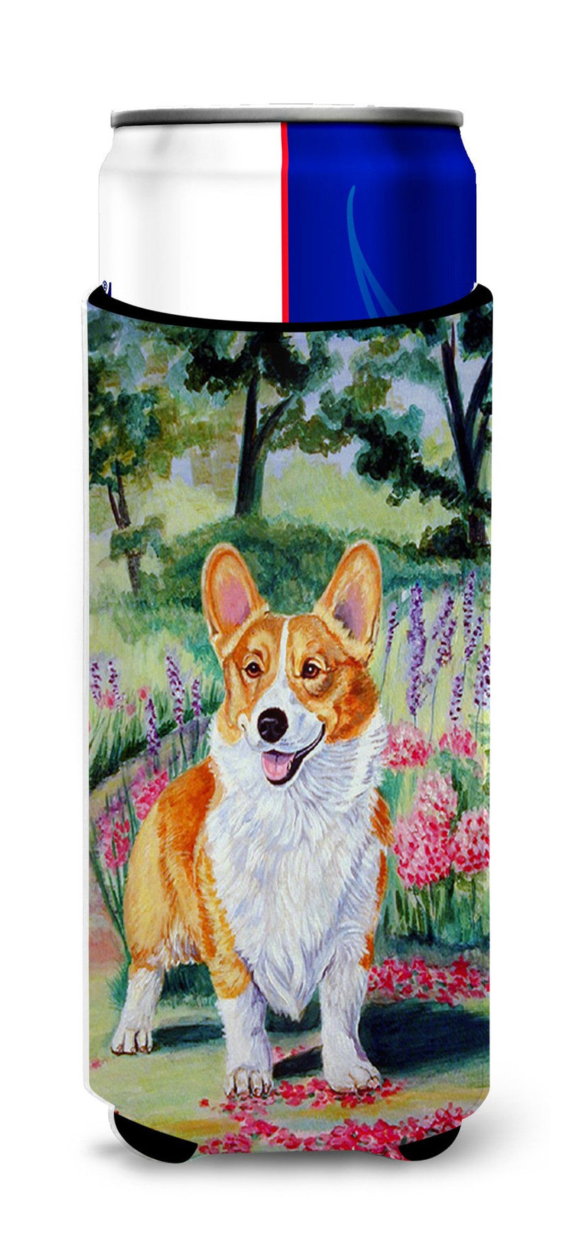 Buy this Pembroke Corgi Springtime Ultra Beverage Insulators for slim cans 7077MUK