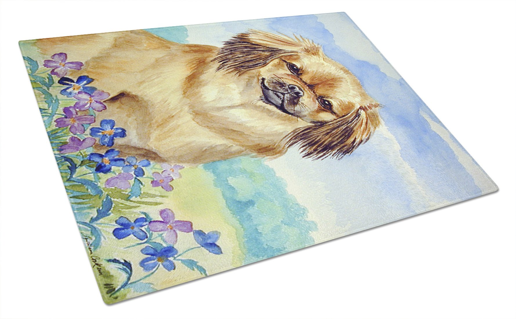 Tibetan Spaniel Glass Cutting Board Large by Caroline's Treasures