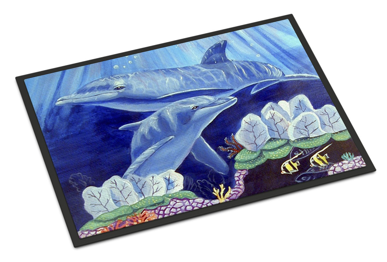 Dolphin under the sea Indoor or Outdoor Mat 18x27 Doormat by Caroline's Treasures