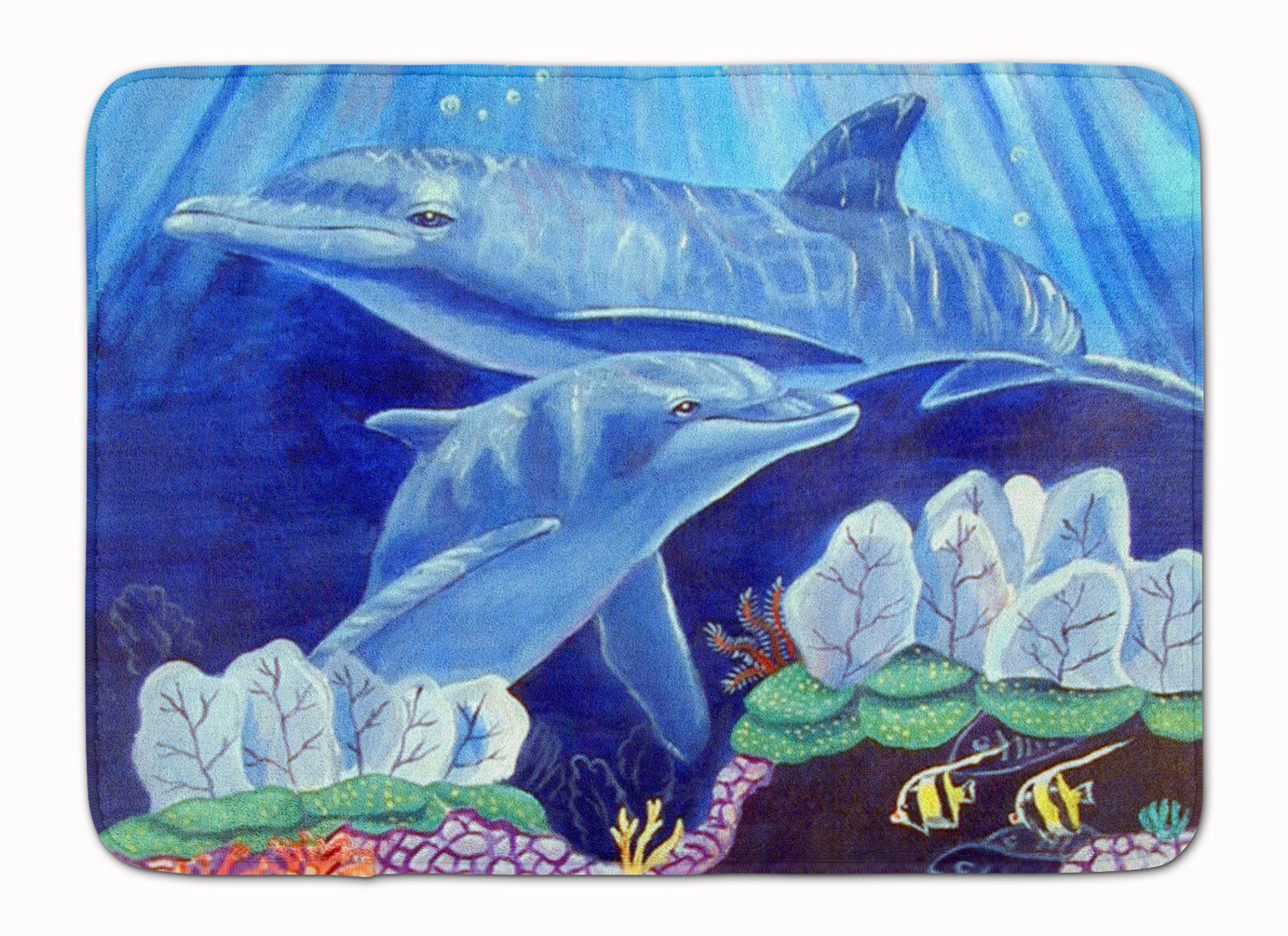 Dolphin under the sea Machine Washable Memory Foam Mat 7080RUG by Caroline's Treasures