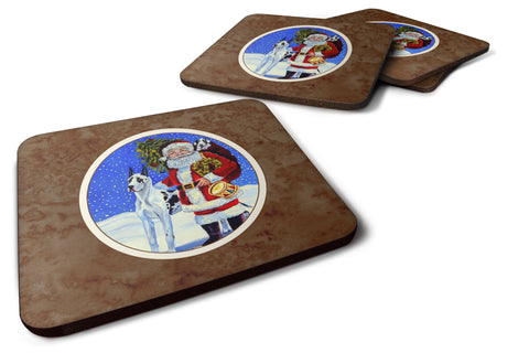 Buy this Harlequin Great Dane with Santa Claus Foam Coaster Set of 4 7083FC