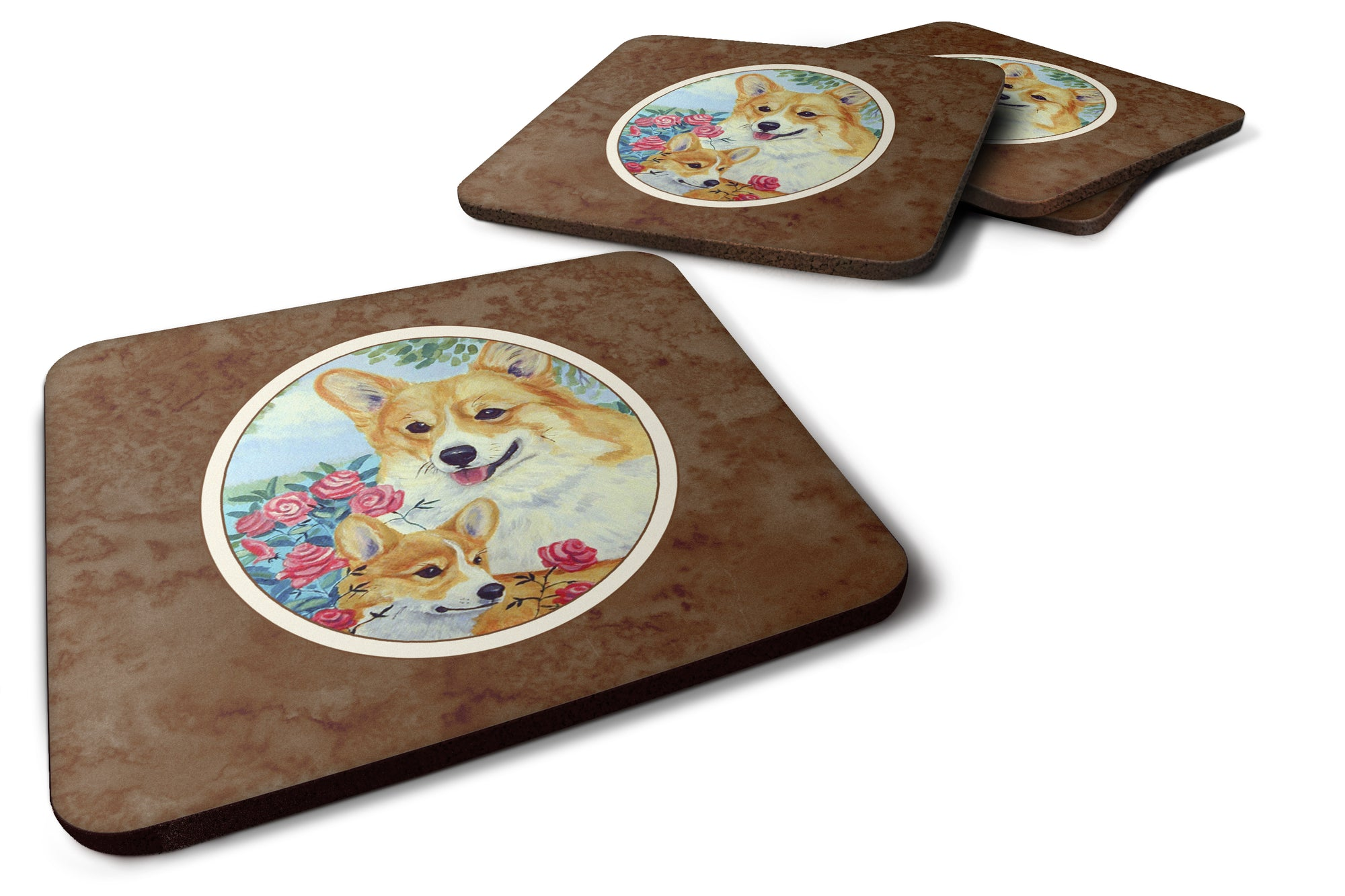 Buy this Corgi Momma loves Roses Foam Coaster Set of 4 7084FC