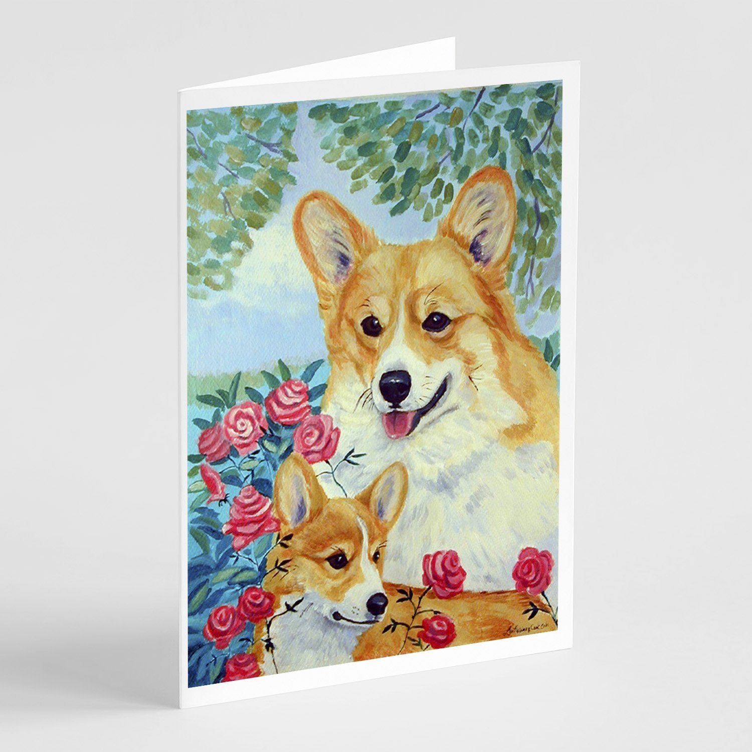 Buy this Corgi Momma loves Roses  Greeting Cards and Envelopes Pack of 8