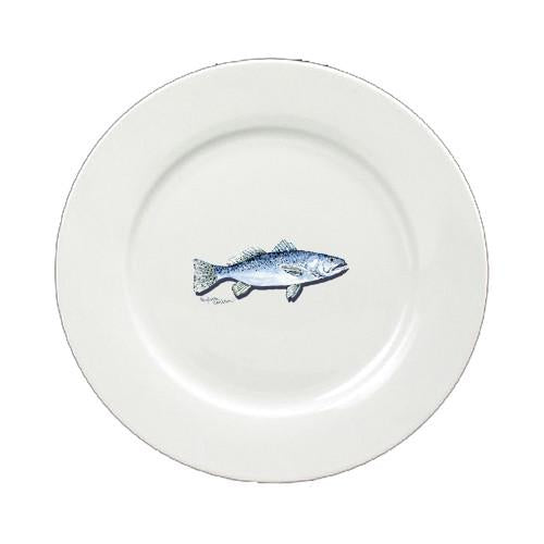 Fish Speckled Trout Ceramic - Plate Round 11 inch solid white 8496-DPW by Caroline's Treasures