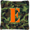 Monogram Initial E Camo Green Decorative   Canvas Fabric Pillow CJ1030 - the-store.com