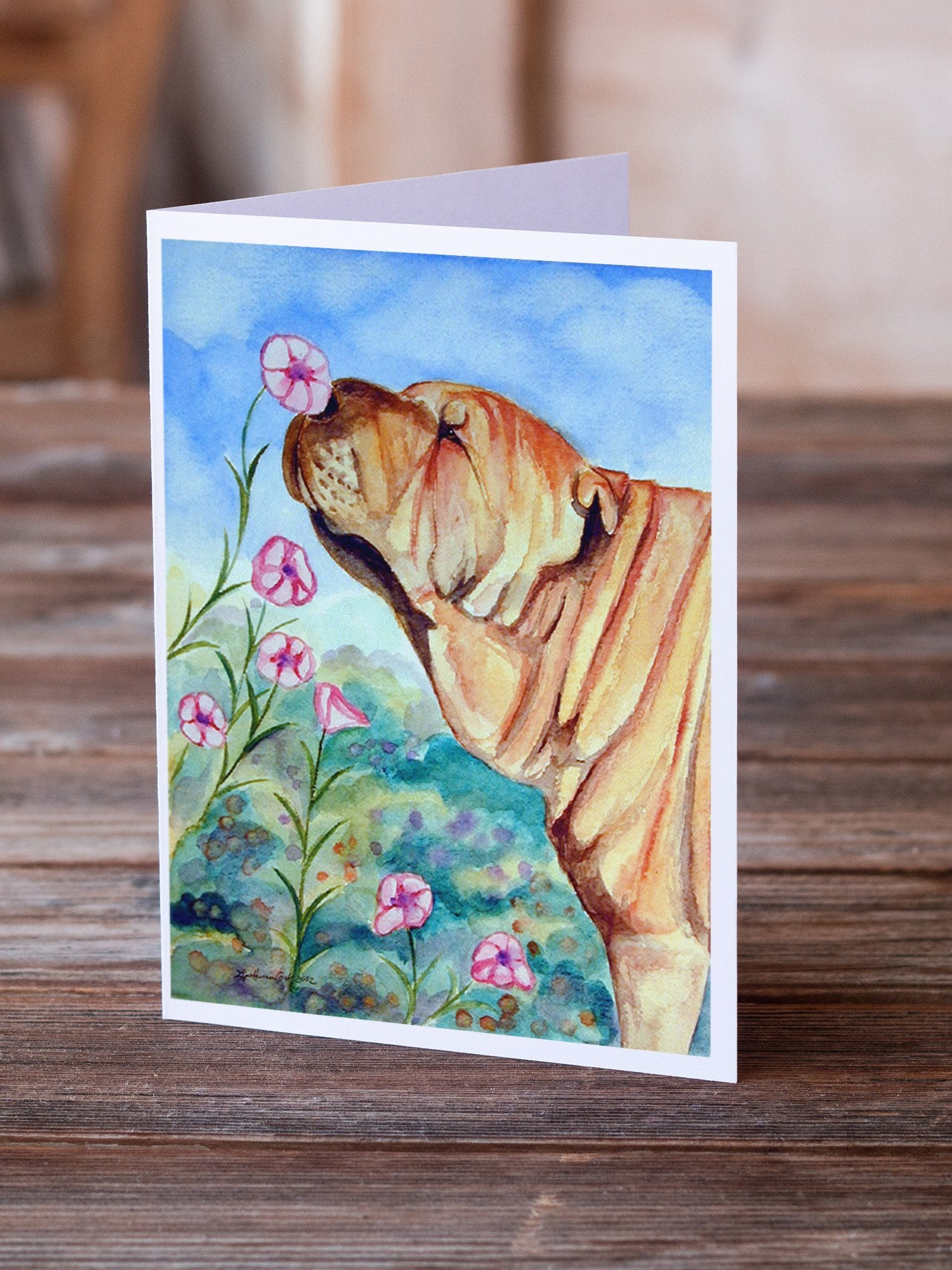 Buy this Shar Pei Smell the flowers  Greeting Cards and Envelopes Pack of 8