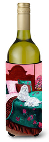 Buy this Maltese and puppy waiting on you Wine Bottle Beverage Insulator Beverage Insulator Hugger