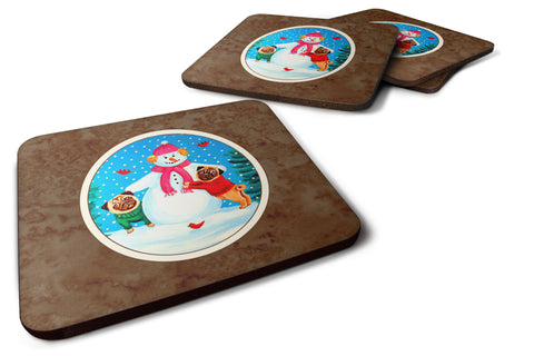 Buy this Snowman with Pug Winter Snowman Foam Coaster Set of 4 7115FC