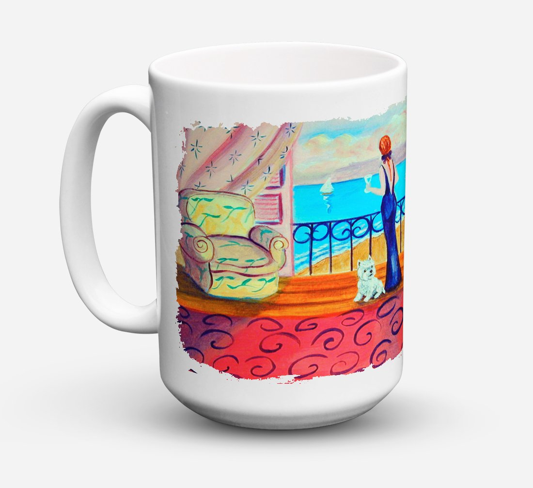 Westie with Mom and a view Dishwasher Safe Microwavable Ceramic Coffee Mug 15 ounce 7125CM15 by Caroline's Treasures