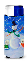 Snowman Bichon Frise Ultra Beverage Insulators for slim cans 7145MUK by Caroline's Treasures