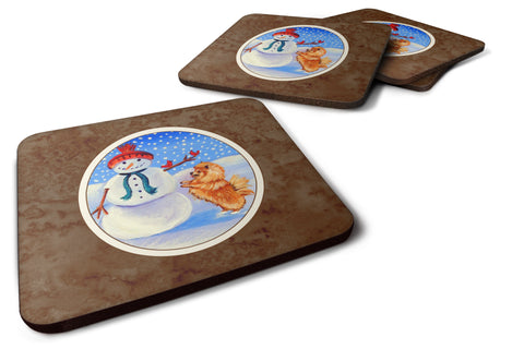 Buy this Snowman with Pomeranian Winter Snowman Foam Coaster Set of 4 7151FC