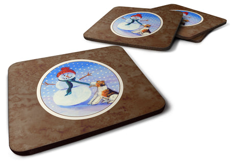 Buy this Snowman with  Fox Terrier Foam Coaster Set of 4 7156FC