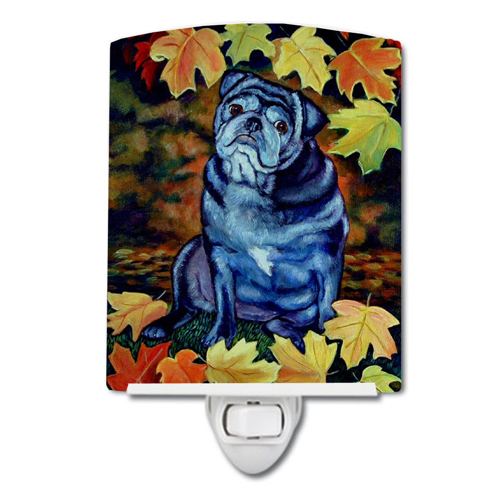 Old Black Pug in Fall Leaves Ceramic Night Light 7159CNL by Caroline's Treasures