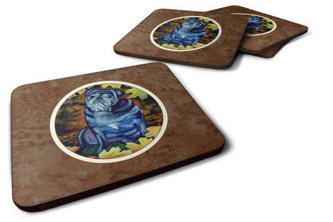 Buy this Old Black Pug in Fall Leaves Foam Coaster Set of 4 7159FC