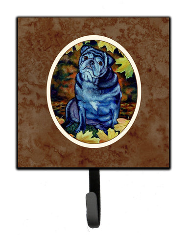 Buy this Old Black Pug in Fall Leaves Leash or Key Holder 7159SH4