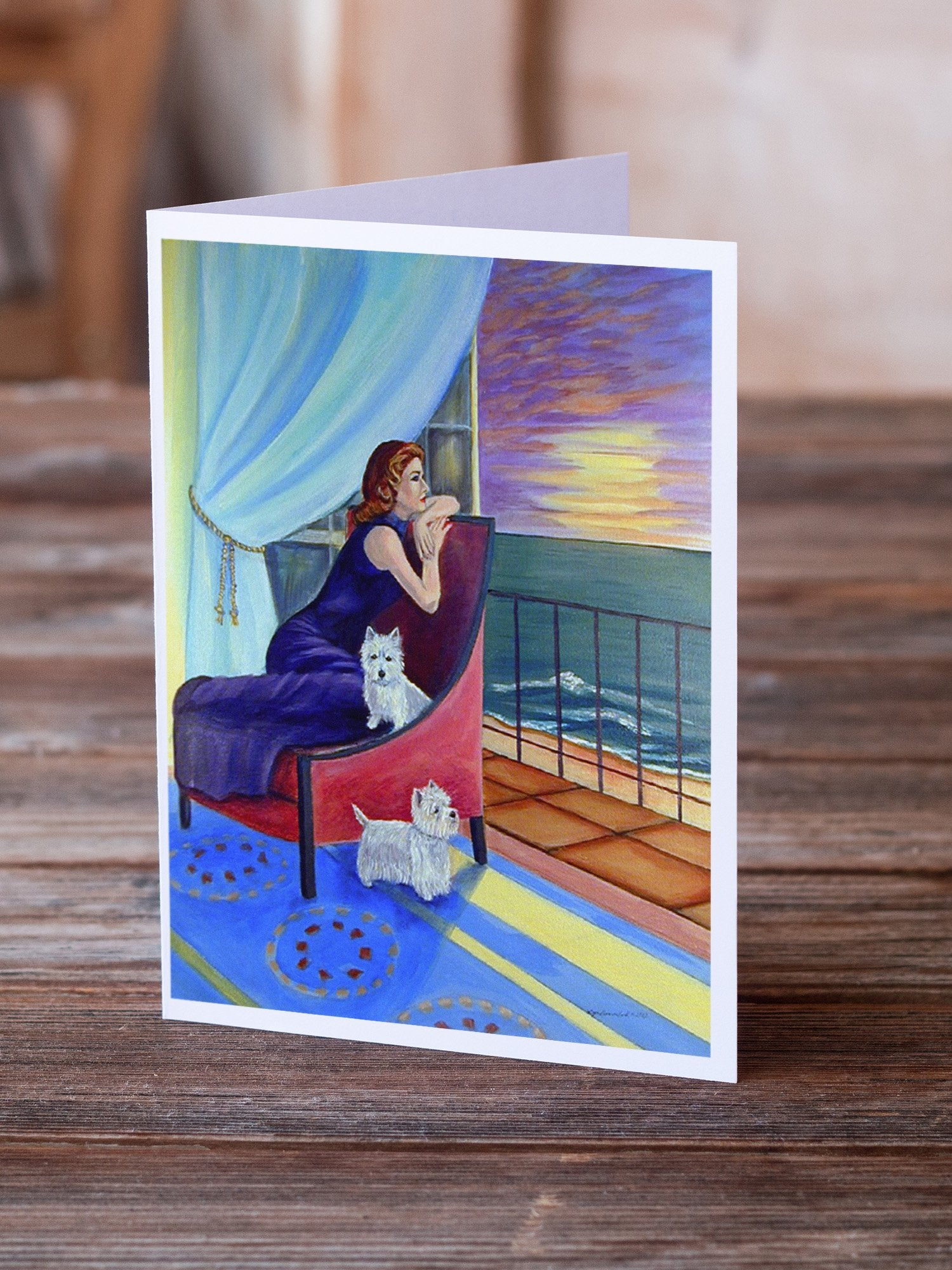 Buy this Lady with her Westie  Greeting Cards and Envelopes Pack of 8