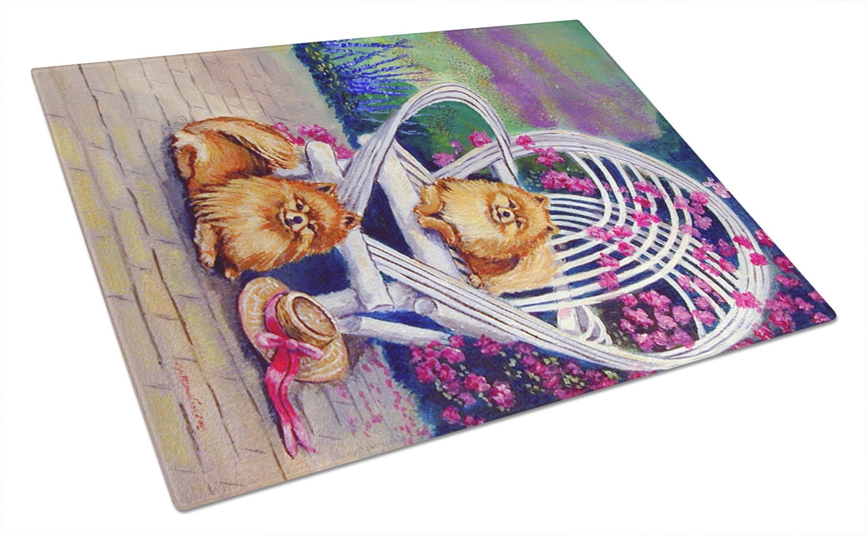 Red Pomeranians on the patio Glass Cutting Board Large by Caroline's Treasures