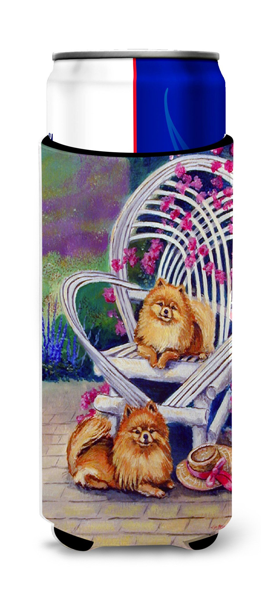 Red Pomeranians Ultra Beverage Insulators for slim cans 7176MUK by Caroline's Treasures