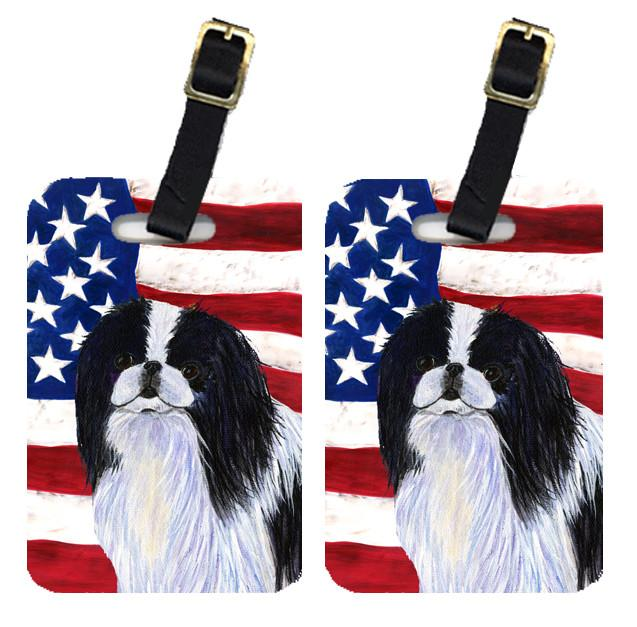 Pair of USA American Flag with Japanese Chin Luggage Tags SS4223BT by Caroline's Treasures