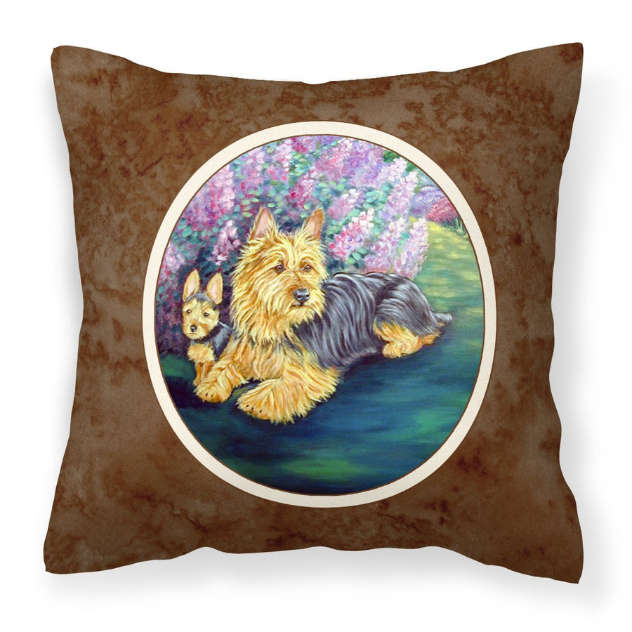 Buy this Australian Terrier and Puppy Fabric Decorative Pillow 7209PW1414