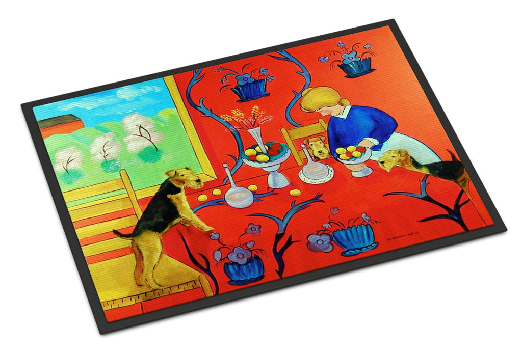Buy this Airedale Terrier with lady in the kitchen Indoor or Outdoor Mat 18x27 Doormat