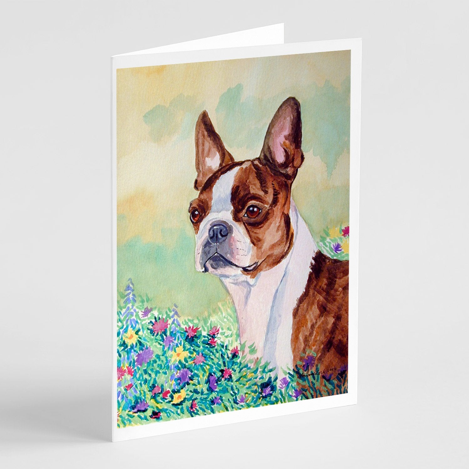 Buy this Red and White Boston Terrier  Greeting Cards and Envelopes Pack of 8