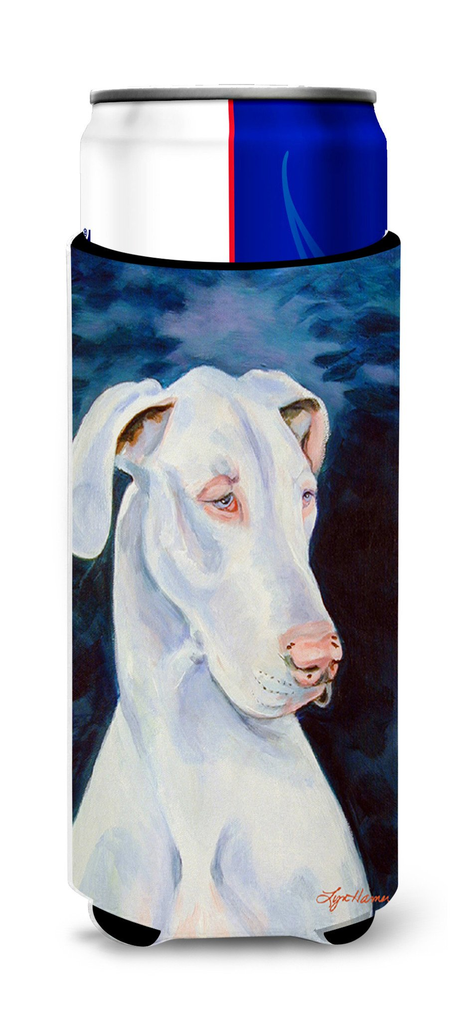 White Great Dane Ultra Beverage Insulators for slim cans 7279MUK by Caroline's Treasures