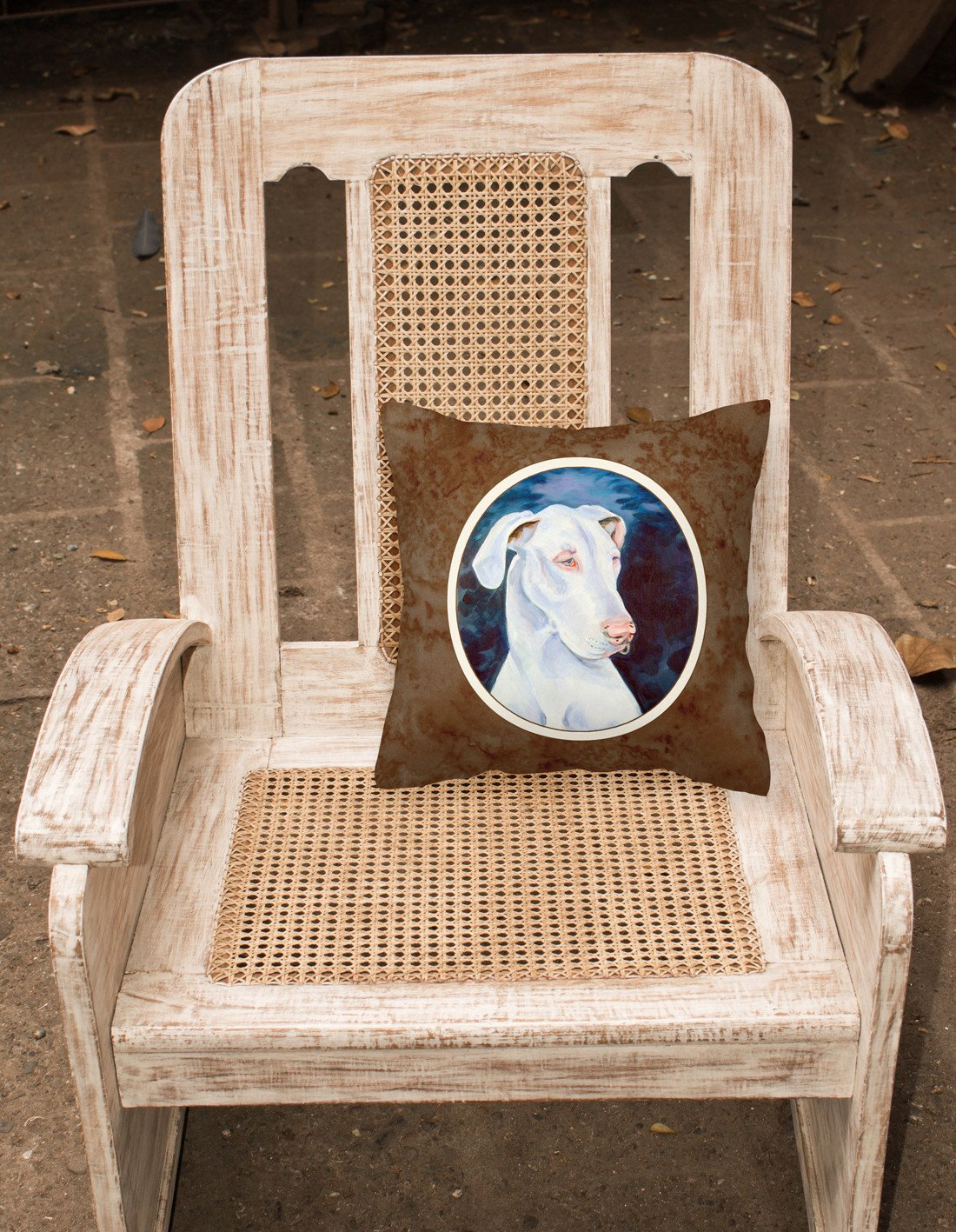 White Great Dane Fabric Decorative Pillow 7279PW1414 - the-store.com