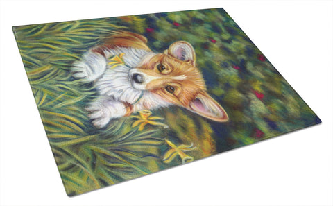 Buy this Corgi Pup and Daffodils Glass Cutting Board Large 7300LCB