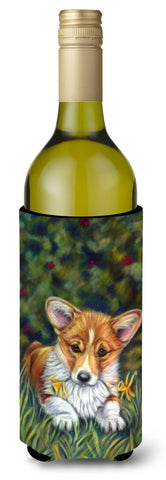 Buy this Corgi Pup and Daffodils Wine Bottle Beverage Insulator Hugger 7300LITERK