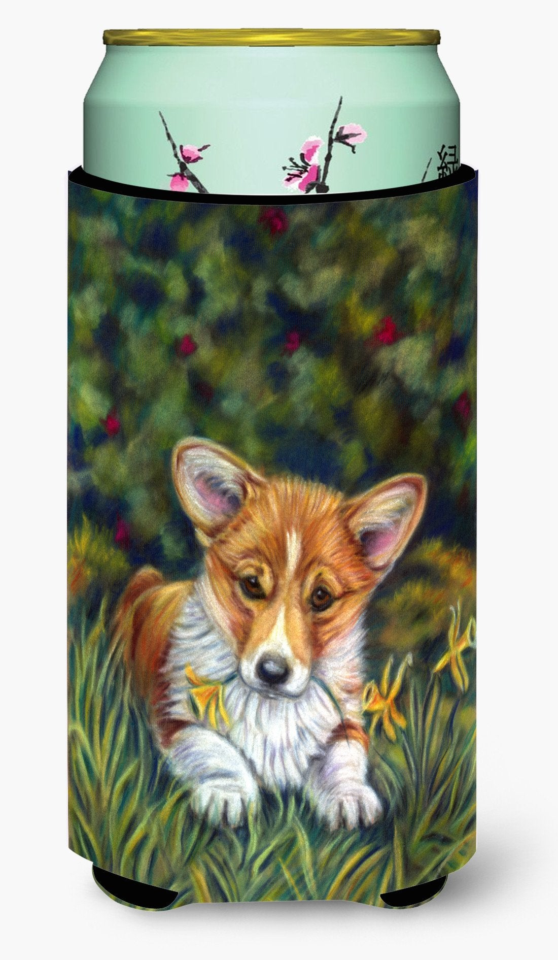 Corgi Pup and Daffodils Tall Boy Beverage Insulator Hugger 7300TBC by Caroline's Treasures