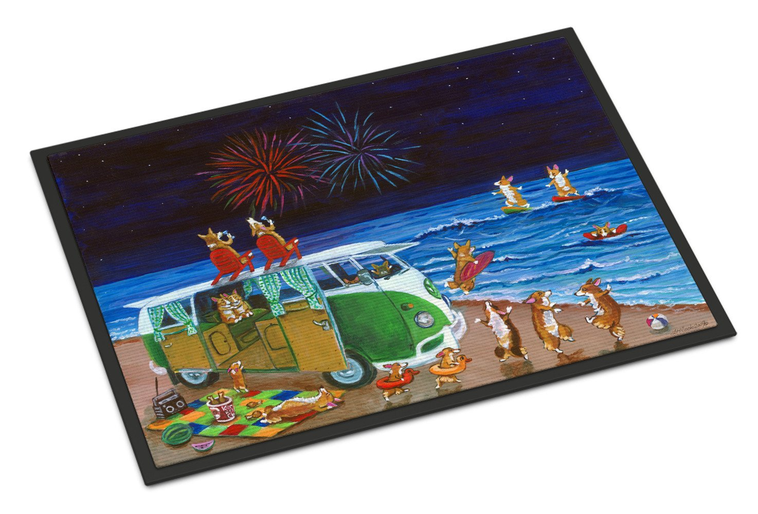 Corgi Beach Party Volkswagon Bus Fireworks Indoor or Outdoor Mat 18x27 7317MAT - the-store.com