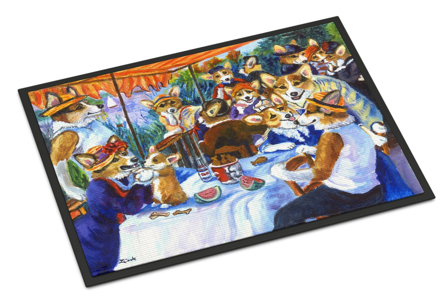 Corgi Boating Party Indoor or Outdoor Mat 18x27 7321MAT - the-store.com