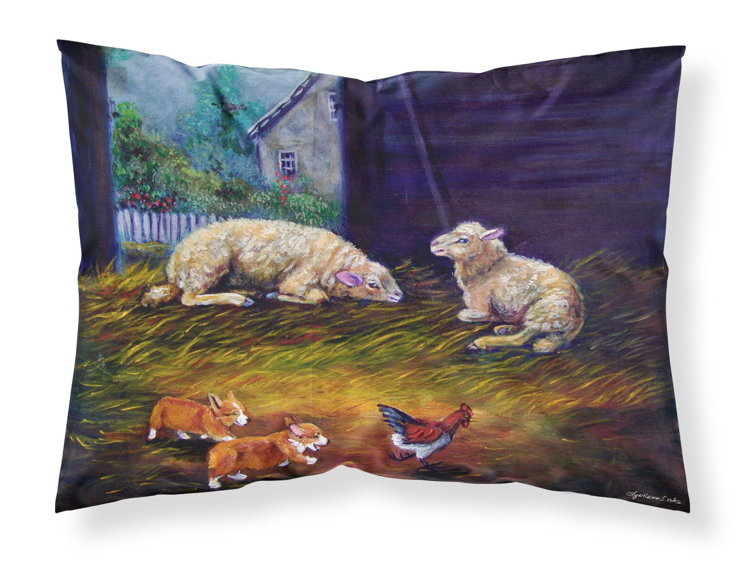Corgi Chaos in the barn with sheep Fabric Standard Pillowcase 7322PILLOWCASE by Caroline's Treasures