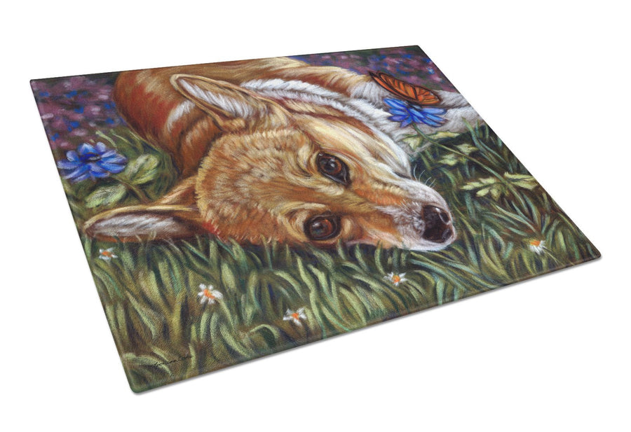 Corgi Pastel Butterfly Glass Cutting Board Large 7325LCB - the-store.com