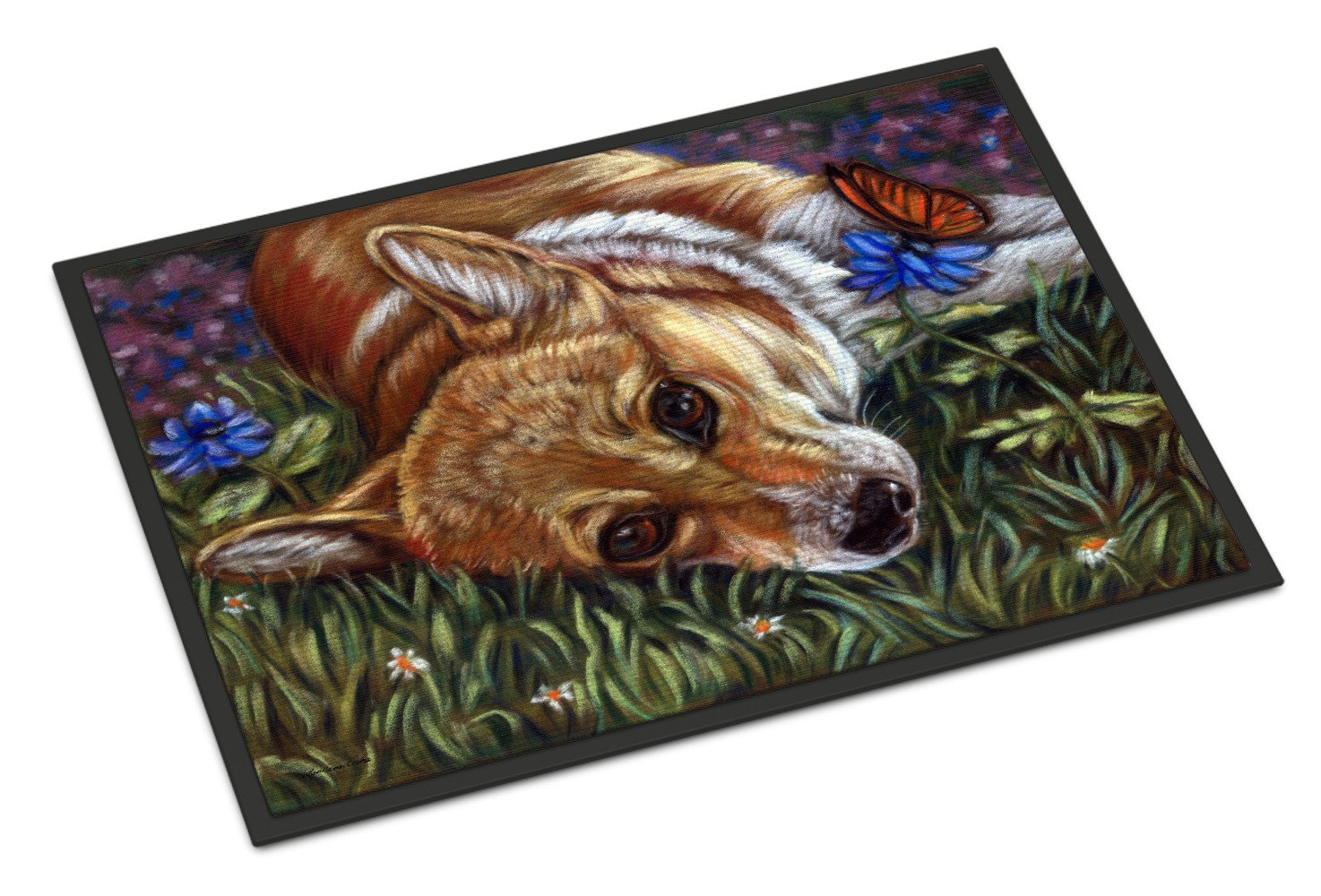 Corgi Pastel Butterfly Indoor or Outdoor Mat 18x27 7325MAT - the-store.com