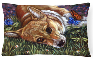 Corgi Pastel Butterfly Fabric Decorative Pillow 7325PW1216 - the-store.com