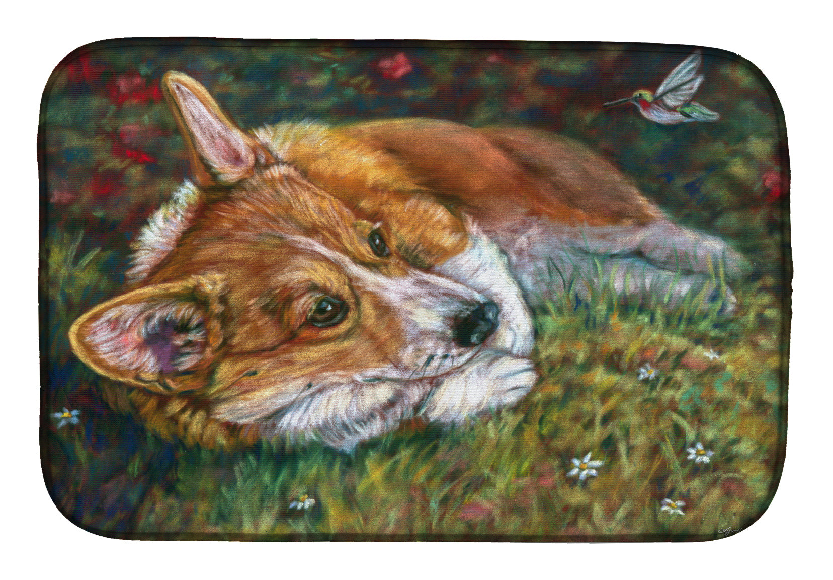 Buy this Corgi Pastel Hummingbird Dish Drying Mat 7326DDM