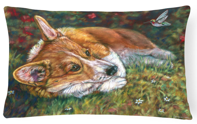 Corgi Pastel Hummingbird Fabric Decorative Pillow 7326PW1216 - the-store.com