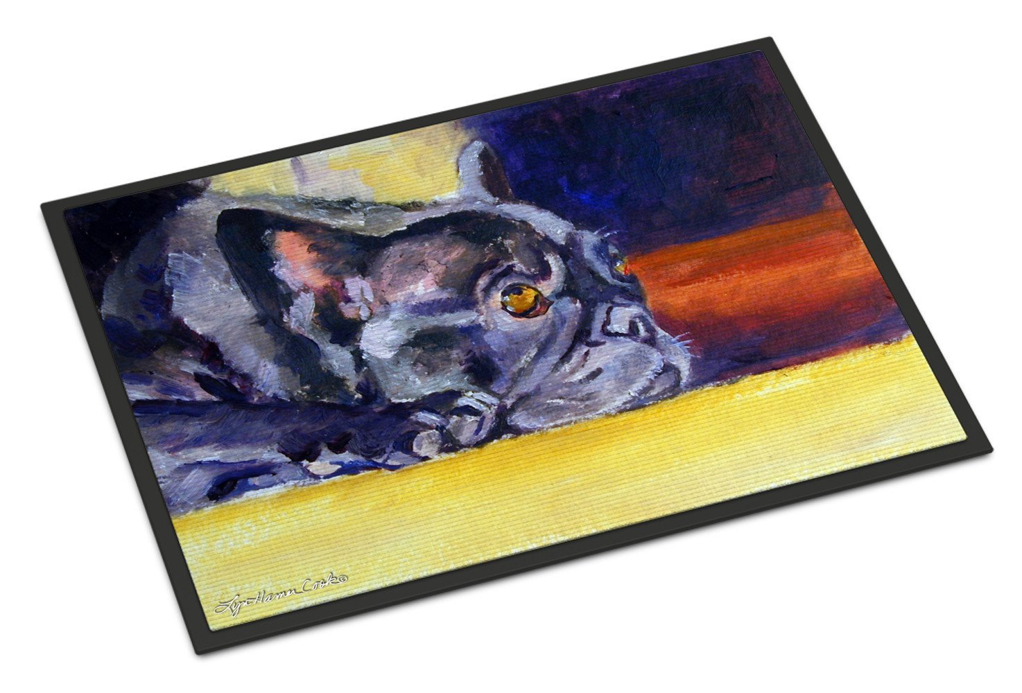 Black French Bulldog Sunny Indoor or Outdoor Mat 18x27 7331MAT - the-store.com