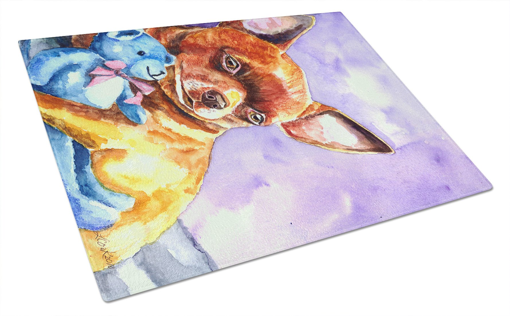 Chihuahua with Teddy Bear Glass Cutting Board Large 7340LCB by Caroline's Treasures