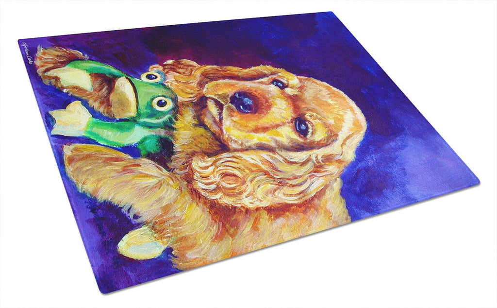 Buy this Cocker Spaniel with Frog Glass Cutting Board Large 7342LCB