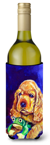 Buy this Cocker Spaniel with Frog Wine Bottle Beverage Insulator Hugger 7342LITERK