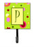 Letter P Initial Monogram - Green Leash Holder or Key Hook by Caroline's Treasures